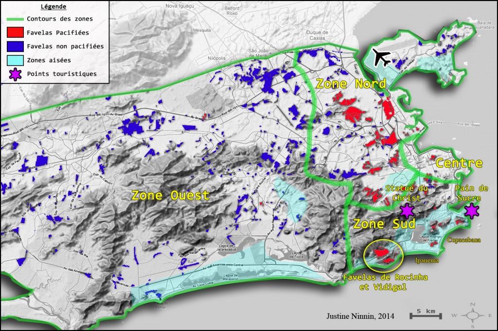 Carte 1 Rio de Janeiro favelas pacifiées Justine Ninnin 2014